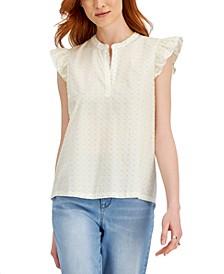 Cotton Clip-Dot Ruffled-Sleeve Top, Created for Macy's