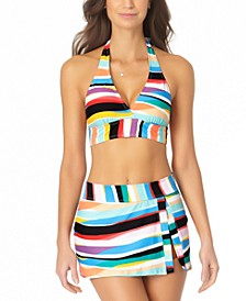 Banded Halter Bikini Top & Front-Slit Swim Skirt