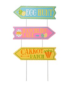 """Set of 3 38""""H Easter Metal Yard Stake or Wall Décor"""