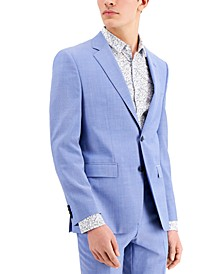 Men's Chambray Blue Solid Modern-Fit Wool Suit Separate Jacket