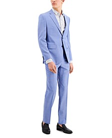 HUGO Men's Chambray Blue Solid Modern-Fit Wool Suit Separates