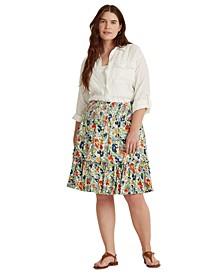 Plus-Size Floral Linen Jersey Skirt