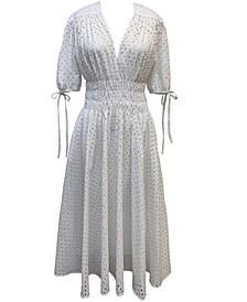 Petite Cotton Eyelet Midi Dress