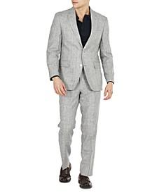 Men's Modern Fit Linen Gray Plaid Suit Separates
