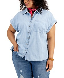 Plus Size Cotton Chambray Camp Shirt, Created for Macy's