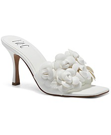 INC Women's Weslyn Flower-Trim Slide Sandals, Created for Macy's