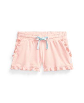 폴로 랄프로렌 여아용 반바지 Polo Ralph Lauren Toddler Girls Ruffled Jersey Shorts,Deco Coral