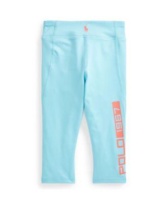 폴로 랄프로렌 여아용 레깅스 팬츠 Polo Ralph Lauren Toddler Girls Logo Stretch Jersey Legging,Aqua Blue