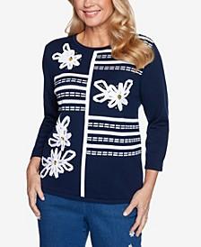 Women's Missy Lazy Daisy Ribbon Floral Applique Sweater