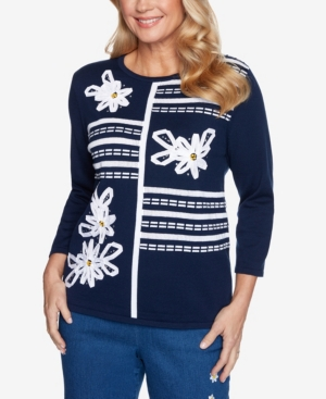 Alfred Dunner Sweaters WOMEN'S MISSY LAZY DAISY RIBBON FLORAL APPLIQUE SWEATER