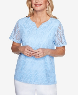 Alfred Dunner T-shirts WOMEN'S MISSY CLASSICS DIAMOND LACE SHORT SLEEVE TOP