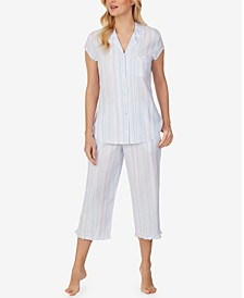 Ruffle-Trim Capri Pants Pajama Set