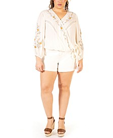 Plus Size Embroidered Wrap Blouse