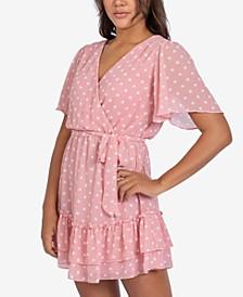 Juniors' Crossover Dot-Print A-Line Dress