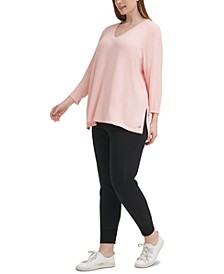 Plus Size Solid 3/4-Sleeve V-Neck Top
