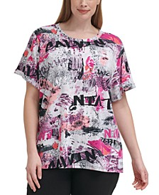 Plus Size Patch Logo Rolled Cuff T-Shirt