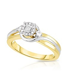 Diamond Two-Tone Promise Ring (1/6 ct. t.w.) in Sterling Silver & 14k Rose Gold-Plated Sterling Silver or Sterling Silver & 14k Yellow Gold-Plated Sterling Silver