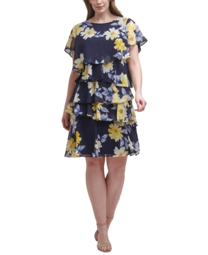 Plus Size Printed Tiered Dress