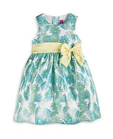 Little Girls Sleeveless Floral Shantung Dress