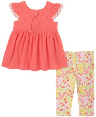 Little Girls 2-Piece Lace Trim Babydoll and Floral Capri Leggings Set