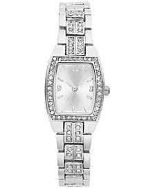 Women's Silver-Tone Crystal Bracelet Watch 28mm