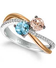 Multi-Gemstone (5/8 ct. t.w.) & Diamond (1/8 ct. t.w.) Two Stone Crossover Ring in 14k Gold & White Gold