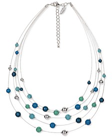 """Silver-Tone Beaded Illusion Layered Necklace, 18"""" + 3"""" extender, Created for Macy's"""