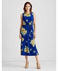 Petite Floral Crepe Midi Dress