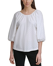 Embroidered Puff-Sleeve Top