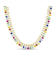 Seed Bead and Rhinestone Chain Necklace