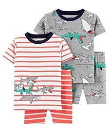 Baby Boys Shark Cotton Pajamas, 4 Pieces