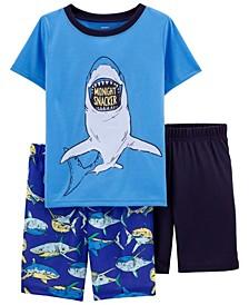 Little Boys Shark Loose Fit Pajamas, 3 Pieces