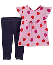 Baby Girls Strawberry Top and Knit Denim Pant Set, 2 Pieces