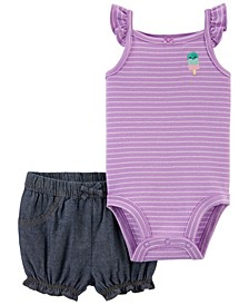 Baby Girls Popsicle Bodysuit and Short Set, 2 Pieces