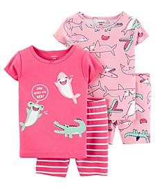 Baby Girls Shark Cotton Pajamas, 4 Pieces