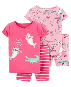 Carter's Sets BABY GIRLS SHARK COTTON PAJAMAS, 4 PIECES
