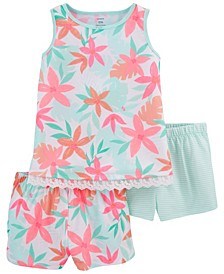 Little Girls Tropical Loose Fit Pajamas, 3 Pieces