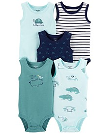 Baby Boys Tank Bodysuits, Pack of 5