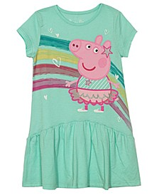 Little Girls Short Sleeve Drop Waist Character Dress