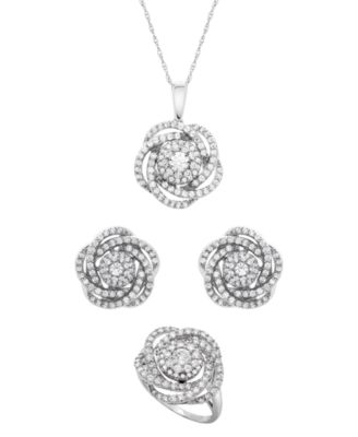 14k White Gold Diamond Pave Knot Earrings (1 ct. t.w.), Created for Macy's