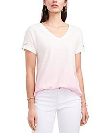 Roll-Tab-Sleeves V-Neck Top