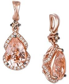 Red Carpet® Peach Morganite (2-5/8 ct. t.w.) & Diamond (1/3 ct. t.w.) Drop Earrings in 14k Rose Gold