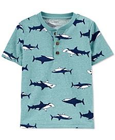 Toddler Boys Shark-Print Cotton Henley