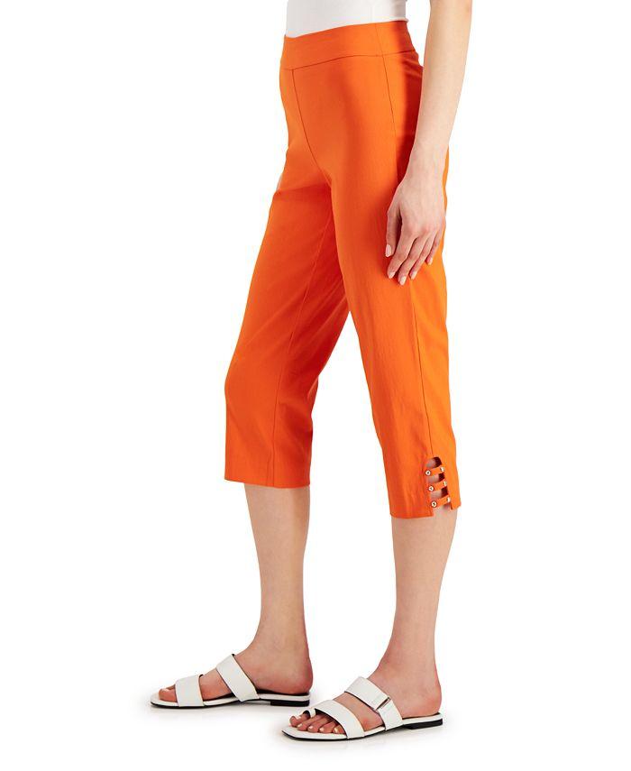 JM Collection - Petite Lattice-Hem Capri Pants