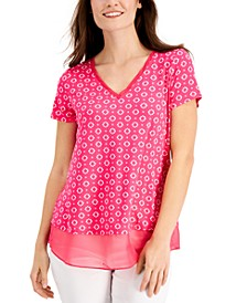 Petite Mina Printed Layered-Look Top, Created for Macy's