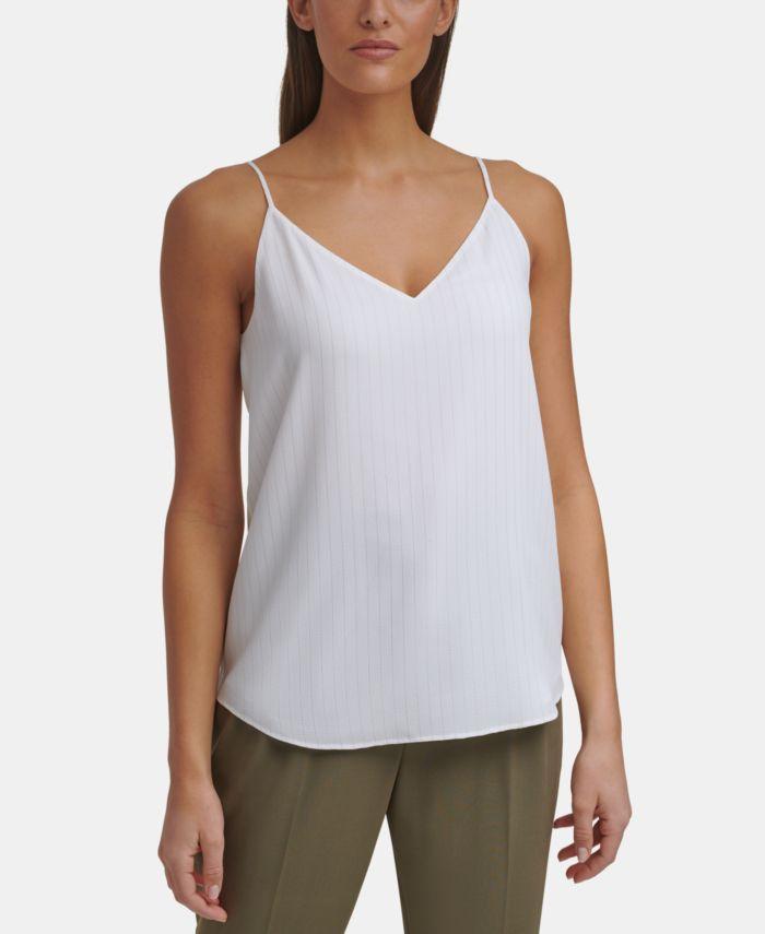 Calvin Klein Striped V-Neck Cami Top & Reviews - Tops - Women - Macy's