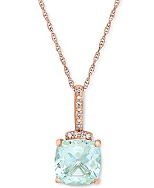 """Aquamarine (1-1/3 ct. t.w.) & Diamond Accent 18"""" Pendant Necklace in 10k Rose Gold"""