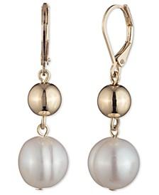 Gold-Tone Imitation Pearl Double Drop Earrings