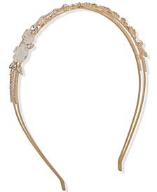 Gold-Tone Crystal & Stone Flower Split-Row Headband