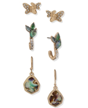 Gold-Tone 3-Pc. Set Pave & Stone Butterfly-Motif Earrings